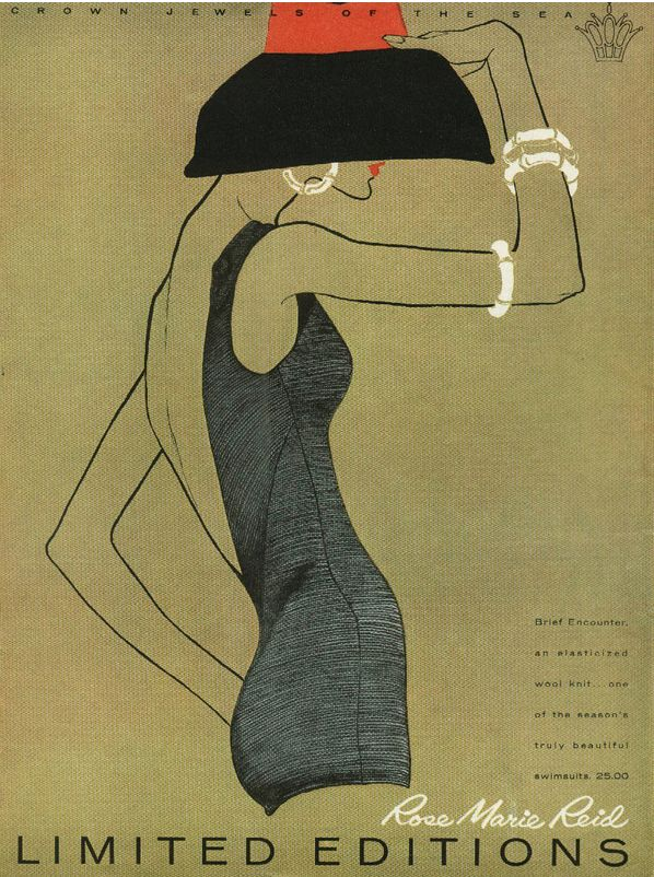 Illustration by ? Betty Brader (b. 1923), 1958, Rose Marie Reid swimwear advertisement, Limited Editions.
