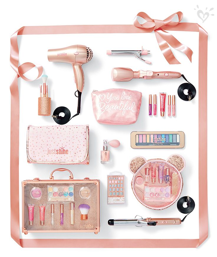 For the girly-girl, beauty essentials in shimmering hues!