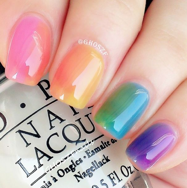 So pretty! Water color-like rainbow nails