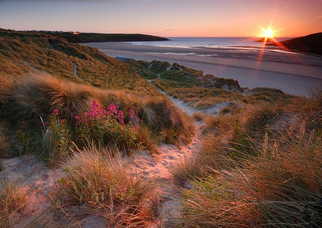 Crantock Beach nr Newquay at sunset from the sand dunes.