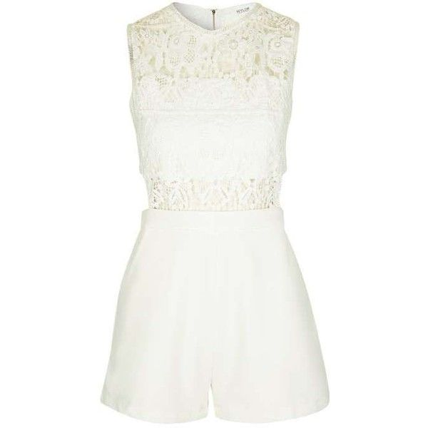 On My Way Ivory Lace Playsuit by Wyldr ($55) ❤ liked on Polyvore featuring jumpsuits, rompers, summer romper, white lace romper, lace romper, topshop rompers and white rompers