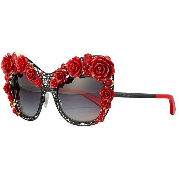 Dolce & Gabbana Dolce Lace Rose & Rhinestone Cat-Eye Sunglasses ($2,610) ❤ liked on Polyvore featuring accessories, eyewear, sunglasses, logo sunglasses, rose lens sunglasses, square sunglasses, cat eye sunglasses and cat-eye glasses