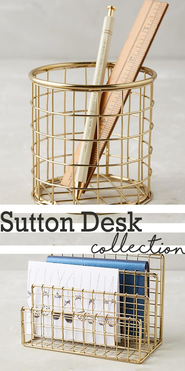 Sutton Desk Collections are pencil cup and paper sorter. Perfect to organize your pencil or paper on your desk | desk ideas | desk organizer #Ad