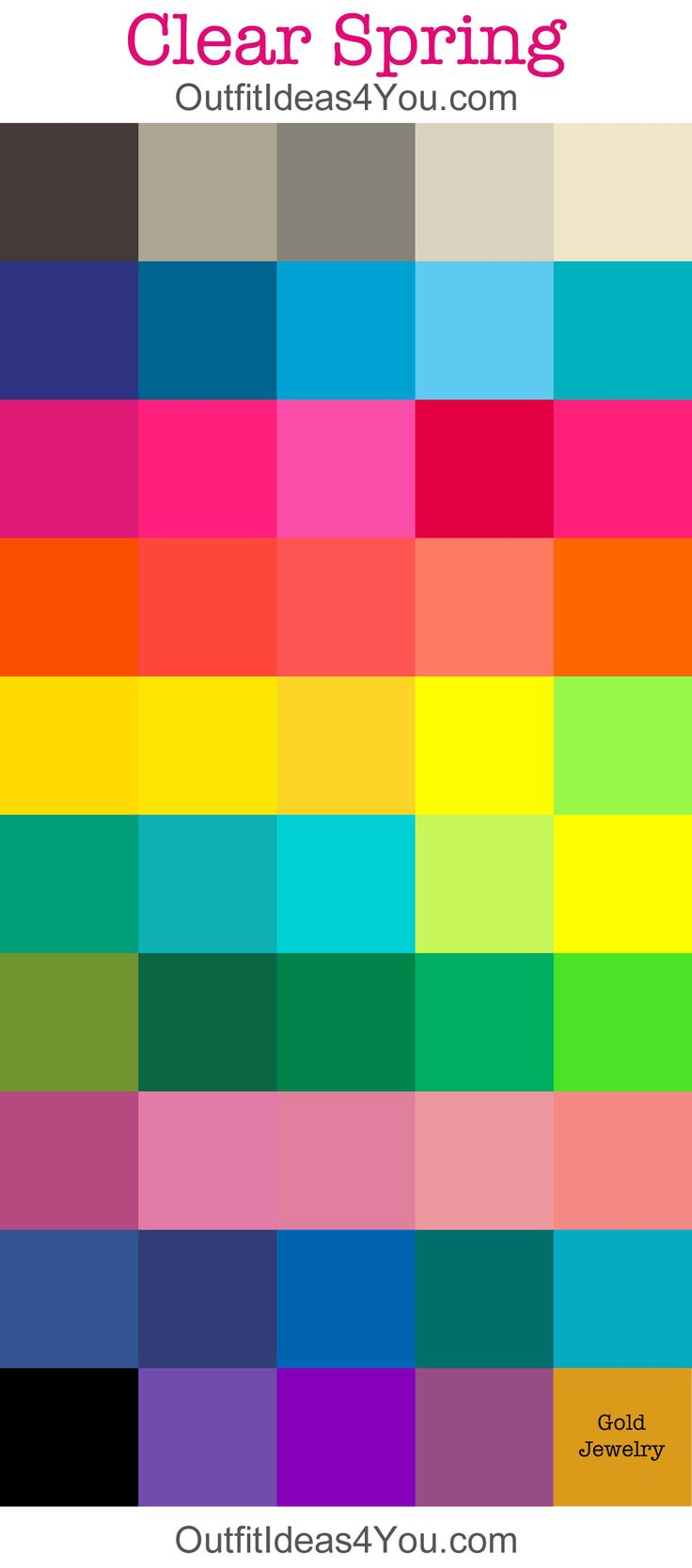 clear/bright spring seasonal color palette - many colors on this palette seems very bright - as my Striking Spring ( vivid, radiant) colour groups. Many colour analysis systems has only one group of clear/ bright colours together.
