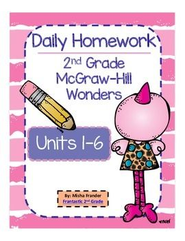 *This product is my original work. I have no implied association with McGraw-Hill. Approval by or endorsement of this product by McGraw-Hill is not intended. *************************************** Bundled...Entire Year of Language Arts Homework 2nd grade daily homework for Units 1-6 Used with McGraw-Hill Wonders Reading Series Homework includes spelling, vocabulary, and grammar activities.