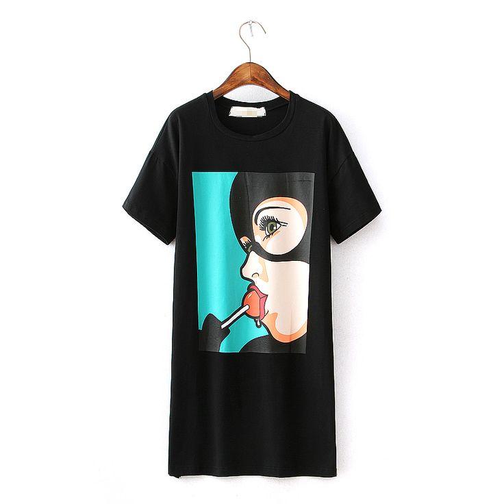 Купить товар2016, летние женские повседневные платья, короткие, плюс размер, круглый ворот, с рисунком, с карманами, свободные, длинная футболка, одежда в категории Платьяна AliExpress. Горячие продажи   Id: 3533 95% Нам $11.99   /Шт Весно