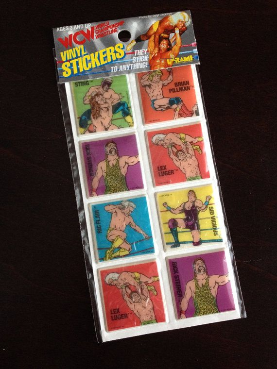sealed WCW vintage stickers sheet - Sting - Lex Luger - Ric Flair - wrestling wwf