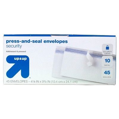 """Press and Seal Security Envelopes 4"""" x 9.5"""" 45ct White - up & up"""