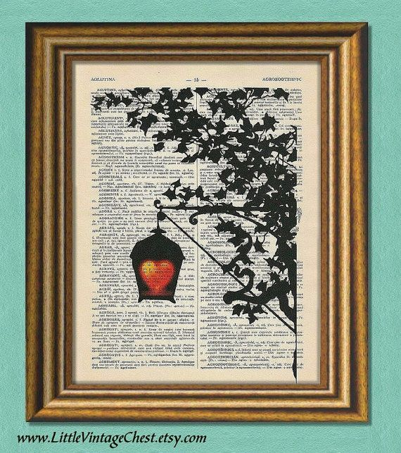 Black Friday! Buy 1 Get 2! - GLOWING HEART  Dictionary art Vintage art by littlevintagechest, $7.99