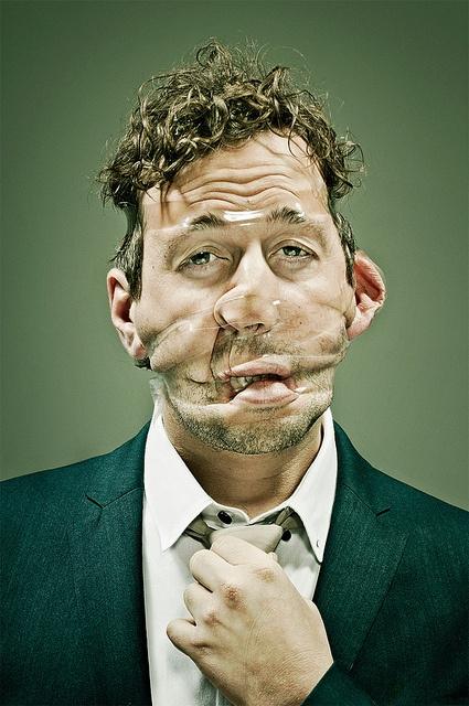 Tape disfigurement portraits