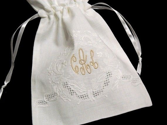 Irish Linen Gift, Jewelry Bag, Personalized Gift Bag, Monogrammed Jewelry Pouch
