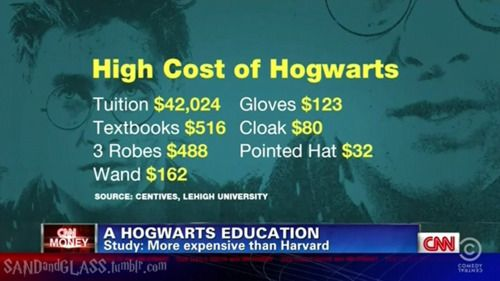 CNN actually researched how much it would cost to go to Hogwarts  #NO WONDER THE WEASLEYS ARE FUCKING BROKE