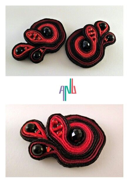 Handmade ANU Jewelry,  Soutache Earrings, black and red, Czech crystal, beads