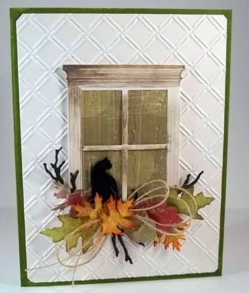 WT395 Kitty in fall window by jaydekay - Cards and Paper Crafts at Splitcoaststampers