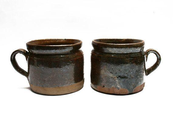 Pair of antique French brown glazed earthen confit pots, 1800s