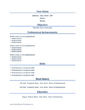 Titles are centered and professional achievements take center stage on this printable resume template. Free to download and print