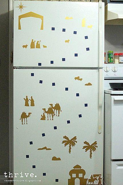 Diy Christian Advent Calendar : Christmas refrigerator advent diy jesus mary joseph