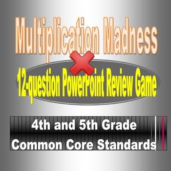 This is the original of the Multiplication Madness series.  Your students will love this interactive jeopardy style review with sleek graphics, original music and animation.  Its teacher friendly and teacher tested.  Make sure that your PowerPoint is macro enabled so that you can add the score live during the game.
