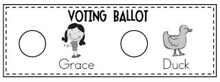 Mrs. Ricca's Kindergarten: Election Day {Freebie}... Read Duck for President and Grace for President and let students vote