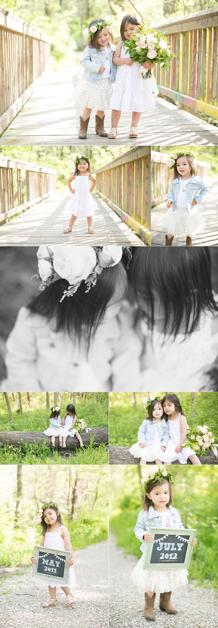 Little sisters photography portrait session together. Super cute with hair floral wreaths.