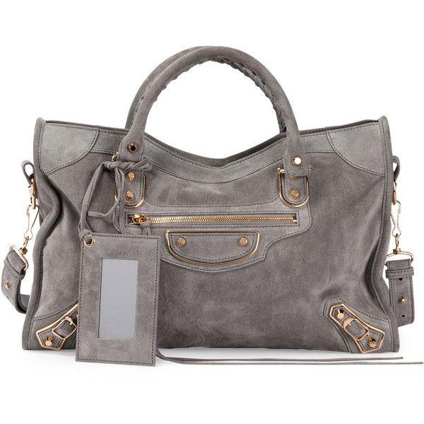 Balenciaga Metallic Edge Suede City Bag ($2,115) ❤ liked on Polyvore featuring bags, handbags, grey, purses, zippered tote bag, zipper tote, gray handbags, grey purse and suede handbags