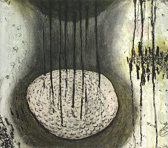 Akiko #Taniguchi. Essence of Water I, 2004. Etching, drypoint, chine colle. Edition of 15. 15 x 17 inches.