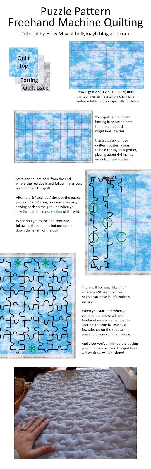 Puzzle Quilting~ What a cool way to quilt! Use this technique on your next project with fabric from the Fabric Shack at http://www.fabricshack.com/cgi-bin/Store/store.cgi