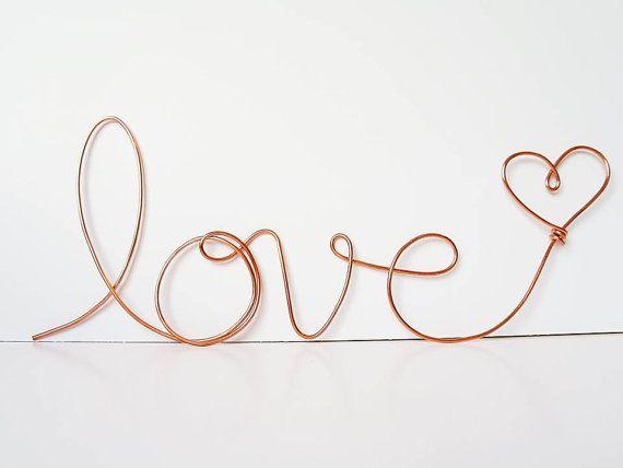 """Soft cursive """"love"""" wall phrase Copper or Brass wire sign ..."""