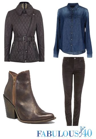 denim shirt, dark wash jeans, cowboy style booties and a structured jacket.  Ready to run errands or have lunch even a casual dinner.