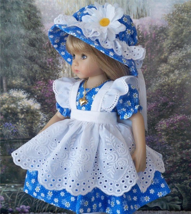 "**Beautiful Blue** Dress Pinafore Hat etc. for 13"" Effner Little Darling Dolls"