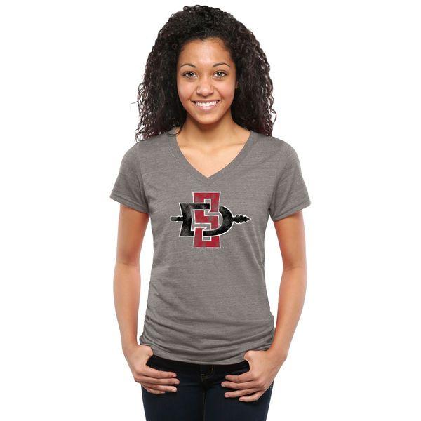 San Diego State Aztecs Women's Classic Primary Tri-Blend V-Neck T-Shirt - Gray - $24.99
