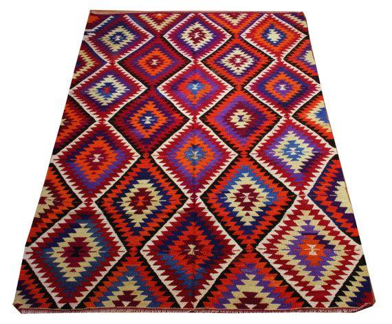 Tapis tapis turcs Zigzag bleu rouge tapis Design par KilimRugsHomm