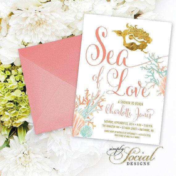 Under the Sea Mermaid Bridal Shower Invitation - Sea of Love Coral Faux Gold Foil Beach Invitation Gold Glitter Glam Watercolor