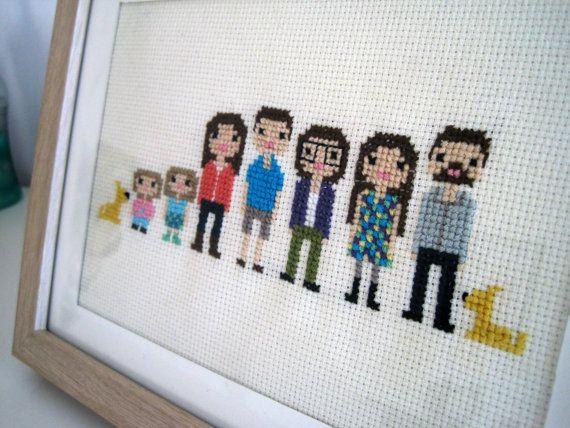 Custom Large Family Pixel Cross Stitch Portrait by ScarletPyjamas, $60.00