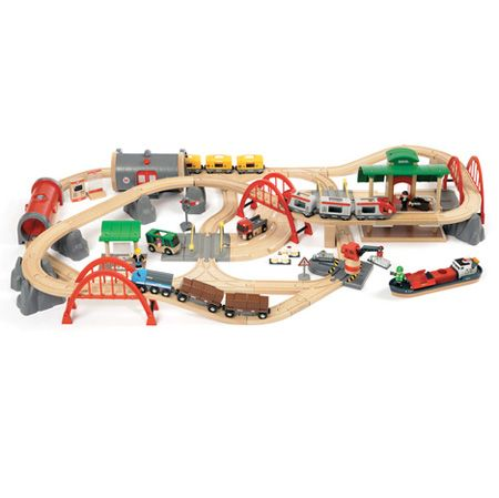 Brio Deluxe Railway Set - $299.99  Are you ready for the all-encompassing fun of this extensive train set? The Brio Deluxe Railway Set is a complete world of railway favorites designed for years of imaginative play.