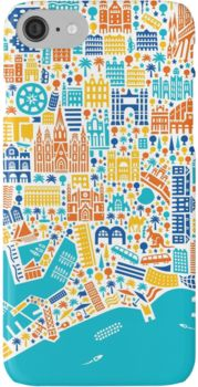 Barcelona City Map Poster iPhone 7 Cases