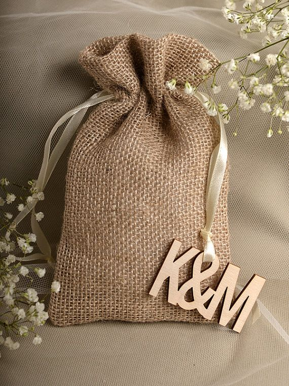 Natural Rustic Burlap Wedding Favor Bag Wedding by DecorisWedding