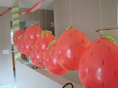 Strawberry balloon idea. Get regular red balloons and decorate them with green ribbon, draw dots with permanent marker | Tinkering L8: Skyler's Party