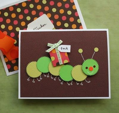 Cute card: Cute Cards, Cards Ideas, Kids Birthday, Caterpillar Cards, Kids Cards, Birthday Cards, Circles Punch, Homemade Cards, Paper Crafts