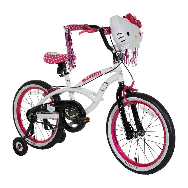 Girls Hello Kitty 18-Inch Wheel Light-Up Bike with Training Wheels, White