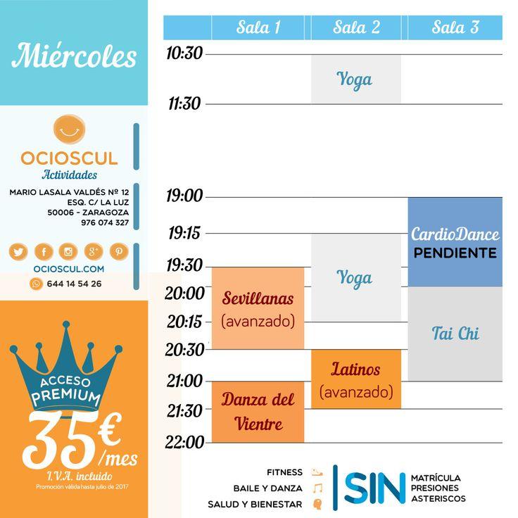 Buenos Días #Zaragoza🙋 Actividades del #Miércoles: #Yoga #Sevillanas Avanzado #TaiChi #BailesLatinos Avanzado #DanzaDelVientre