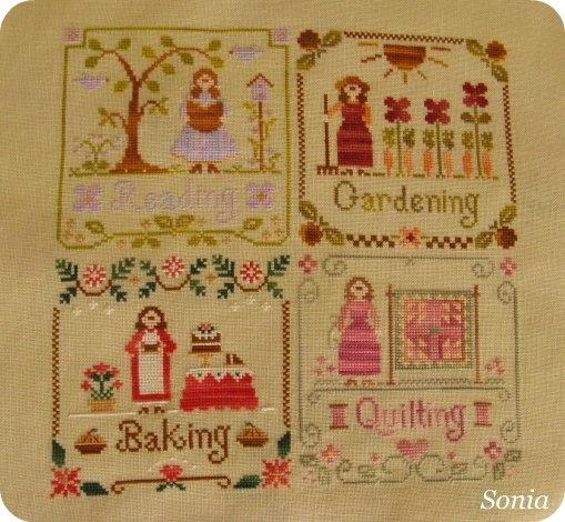 reading-gardering-baking quilting
