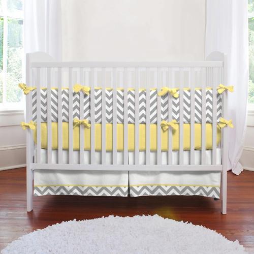 Gray And Yellow Zig Zag Baby Crib Bedding Nursery Ideas
