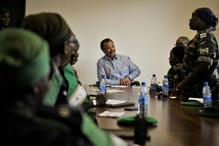 SRCC Mahamet Saleh Anadif holds a meeting with women from various components of AMISOM to discuss various challenges facing the women on February 8 in Mogadishu, Somalia. AU UN IST PHOTO / Tobin Jones