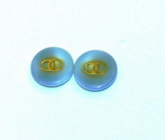 Light Blue Chanel Logo Buttons Handmade Stud by Bijouxhouse, $30.00