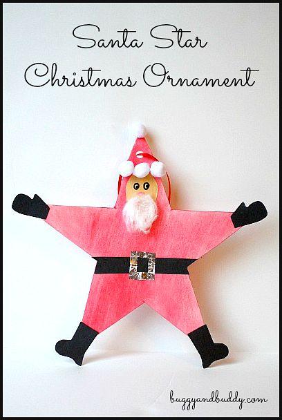 Homemade Christmas Ornaments for Kids: Santa Claus Star Ornament ~ BuggyandBuddy.com