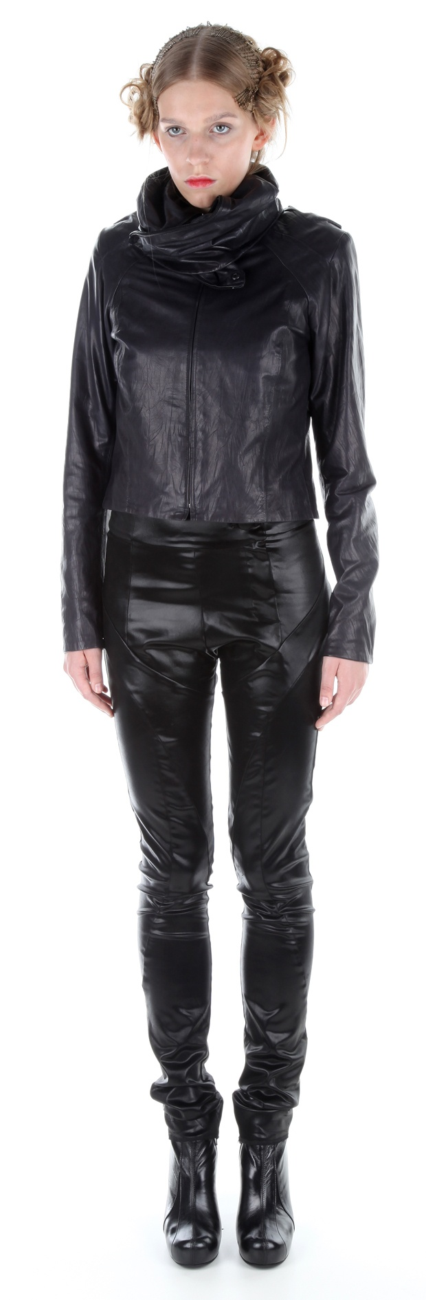 Jacket ( leather), jumpsuit ( silk satin), shoes ( leather, stainless-steel heel)