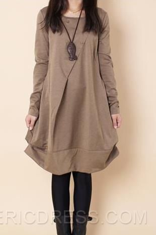 New Solid Color Loose Long Sleeve Dress  Casual Dresses