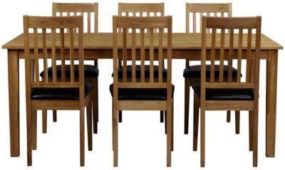 """<div>Denna eleganta <b>matgrupp </b>""""Linus/Ella"""" från ROWICO är tillverkad av massivt ekträ. Matgruppen består av ett matbord och <b>6 stolar</b> i en vacker färgkombination av svart och ekfärg. Bordet har ett mått på B/H/D ca. 180 x 74 x 90 och passar utmärkt i mindre rum. Passar lika bra för vardagens måltider som för middagar med vänner och släkt!</div>"""