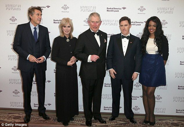 Helping hands:Prince Charles, Prince of Wales (2R) poses with (from L-R) singer Bryan Ferry, actress Joanna Lumley, Rob Brydon and Prince's ...